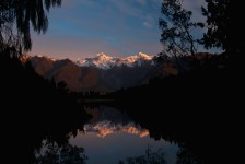 Sunset reflections of the Southern Alps in Lake Matheson