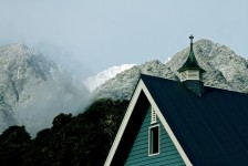 Winter snow on the high peaks behind the Church at FOX