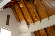 Rimu beams and roof lining of the mezzanine